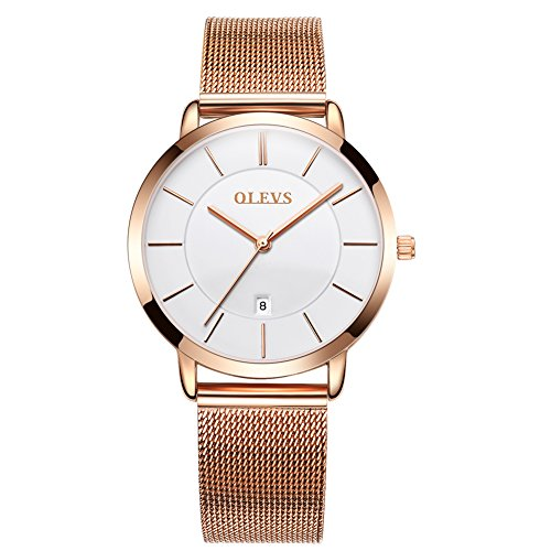 - Rose Gold Ultra Thin Watches for Women, Work Office Dress Wristwatches with Date Waterproof White Dial Mesh Steel Milanese Loop Band Watches, Analog Quartz Clock Time Watch Easter Gift for Ladies