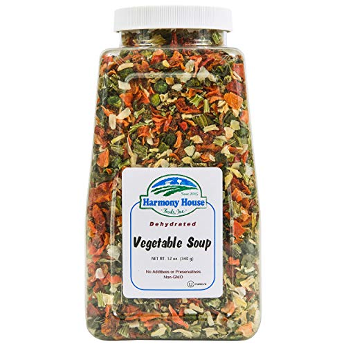 Fat Free Soup - Premium Vegetable Soup Mix - Dehydrated (12 oz. Quart Size Jar) by Harmony House Foods