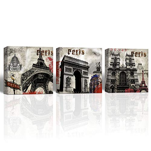 Notre Dame Framed Art - Gardenia Art mid Century Wall Art Eiffel Tower Arc de Triomphe Notre Dame de Paris Painting bar Accessories and Decor Stretched and Framed 16x16 in 3 Pieces