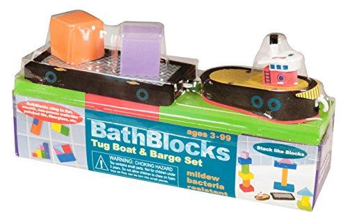 BathBlocks Just Think Toys Bathtime Consruction Building Toy - Tug Boat & Barge