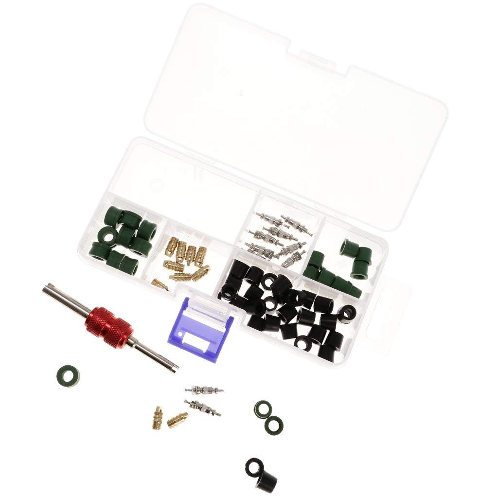 Baoblaze Box AC Valve Core Remover Tool AC Car Valve Core Hose Gasket O-Ring Seal Kit