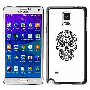 LECELL--Funda protectora / Cubierta / Piel For Samsung Galaxy Note 4 SM-N910 -- Death Skull Black White Ink Metal --