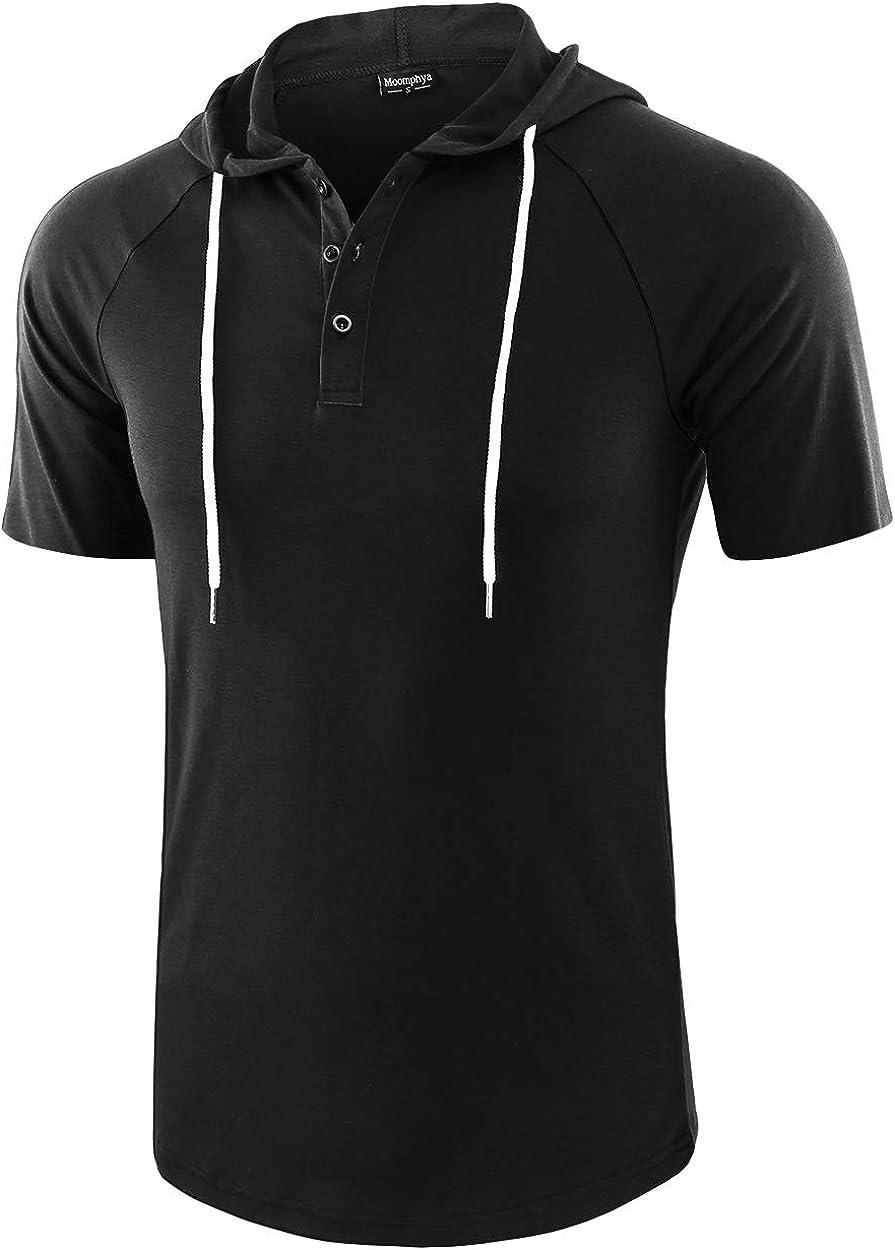 Moomphya Mens Jacquard Knitted Casual Short Sleeve Raglan Henley Jersey Hoodie T Shirt
