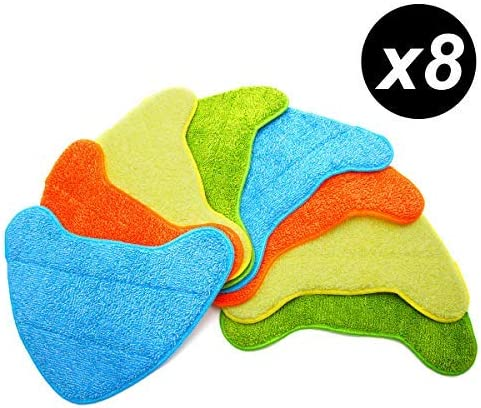 SurePromise Pack of 8 Steam Mop Pads Multi-Colour Microfiber Cleaning Cloth Replacement Pad Compatible For Vax S86-sf-cc Steam Fresh Combi Classic