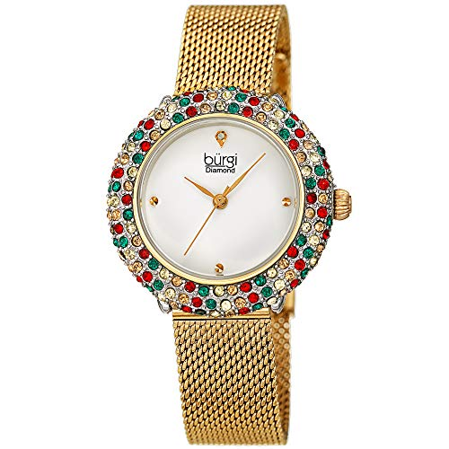 Burgi Swarovski Colored Crystal Women's Watch - A Genuine Diamond Marker - Stainless Steel Mesh Bracelet Wristwatch (Yellow Gold)