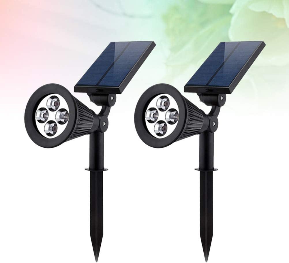 Luz Solar del jard/ín 2 Unids Focos es 4 Leds Paisaje Impermeable L/ámpara de Luz RGB Conector de Tierra L/ámpara para Patio de C/ésped al Aire Libre