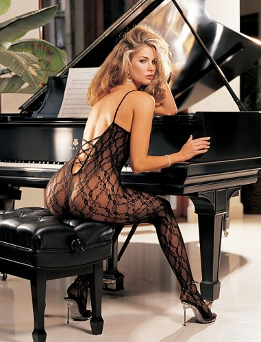 Lace Body Stocking With Criss-Cross Back