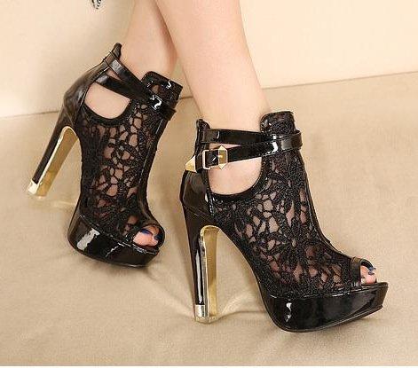 Imperméable Filet Haute À Chaussures Sandales Talons Sandales Métal ZHUDJ black Imperméable Club Respirant AqWdwTTz