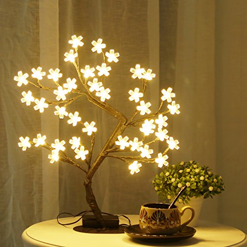 (Bolylight LED Cherry Blossom Tree Lights Table Lamp 16.73'' 40L Centerpiece & Indoor and Outdoor Artificial Decoration Lighted Tree for Bedroom/Party/Wedding/Office/Home Warm White)