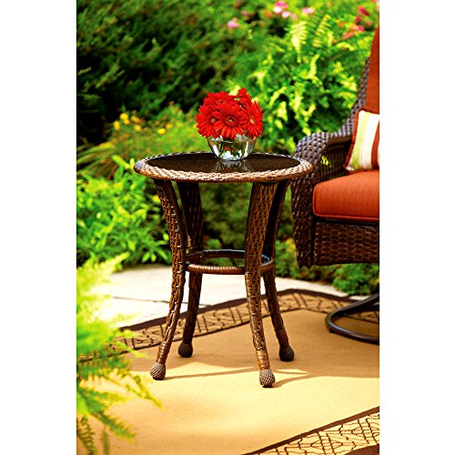 Cheap Patio End Table Circular 20″ Round Side Table Brown Curved Wicker Design Water Weather Rust UV Resistant Glass Top Small Stylish Outdoor Furniture & eBook by Easy&FunDeals