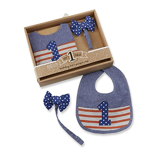 - Baby Aspen My First Birthday Bow Tie Pacifier Clip and Bib Set