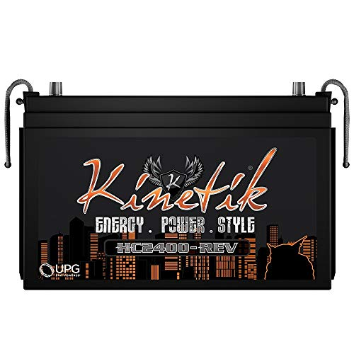Kinetik HC2400-REV 2400 Watt 12V Car Battery/Power Cell High Current With Advanced AGM Technology