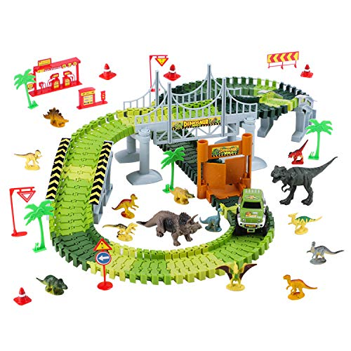 LEXSO Race Track Dinosaur Toys Roller Coaster Bridge Create A Road 142+14pcs Sets, 14 Dinosaurs, A Piece Toy Car & 5 Trees, Gas Station, Direction Sign. Toys Fit 3+ Year Old Boys Girls for Birthday