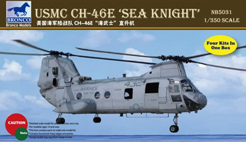 "Bronco Models USMC CH-46E""Sea Knight"" Plastic Model (Contains 4 kits), Scale 1/350"