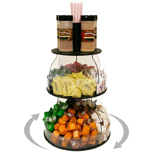 Coffee Condiment Organizer 12 W X 16 H. Plus Comes with Removable Stirrer Holder on Top. Has 8 Generous Compartments Great for K-Cups and Condiments. Sturdy & Break Resistant. Proudly Made in the USA ! and Only by PPM.