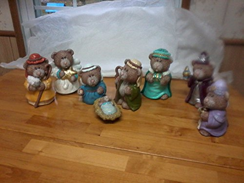 (8 Pc. Bear Nativity Set-3 Wisemen, Angels, Shepard, Mary & Joseph, and Baby Jesus- Handpainted Ceramic )