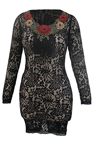 New Elegante Schwarz amp; Nude Spitze figurbetontes Kleid mit Blumen ...