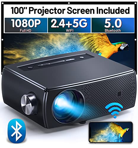 Mini Projector Bluetooth, CLOKOWE 9600L 1080P HD WiFi Projector, Portable Movie Projector with Dolby Audio, Home Theater Video Projector Compatible with Android/iOS/HDMI/USB/TV Stick/Laptop/PS4