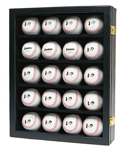 JackCubeDesign 20 Baseball Display Case Wall Mount Leather Cabinet Wood Shelf Sports Storage Acrylic Cover Rack with Protection 2 Knob(Black, 14.2 x 3.9 x 18 inches) - :MK104C