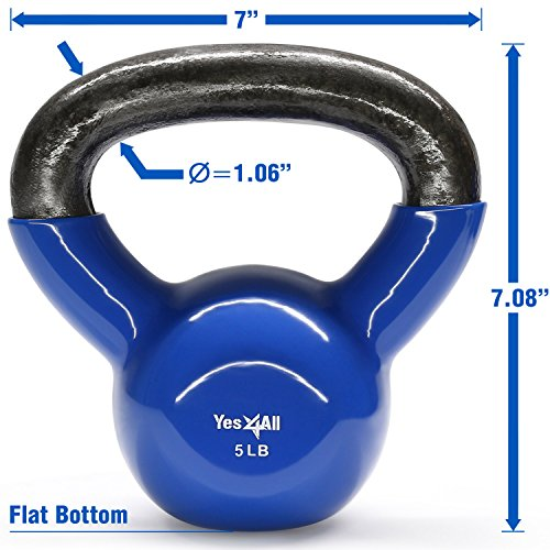 Yes4All Vinyl Coated Kettlebell Weights Set – Great for Full Body Workout and Strength Training – Vinyl Kettlebell 5 lbs by Yes4All (Image #1)