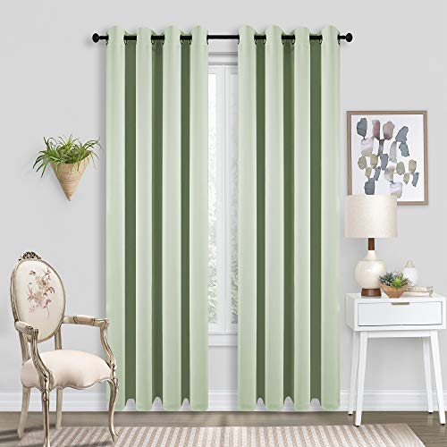 Light Green Blackout Curtains 84 Inches Long Room Darkening Curtains/Drapes - Solid Color Grommet Top Thermal Insulated Mint Curtains for Bedroom,84 Inches Length,2 Panels, 52 x 84,Sage Green,Pea Gree ()