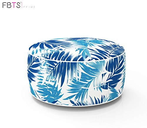 (FBTS Prime Outdoor Inflatable Ottoman Blue Leaf Round Patio Foot Stools and Ottomans Portable Travel Footstool Used for Outdoor Camping Home Yoga Foot Rest)