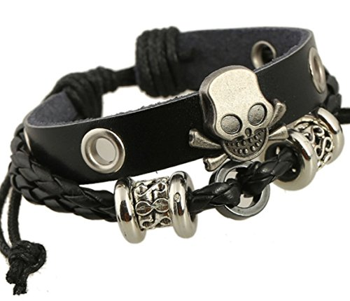 Most Beloved Alloy Genuine Leather Bracelet Vintage Gothic Skull Grim Reaper Cuff Charm Black Silver