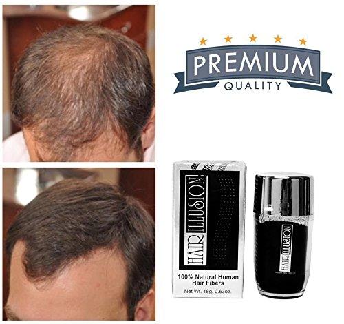 [HAIR ILLUSION - 100% Natural Real Human Hair FibersNot Synthetic For Men & Women, Premium Hair Building Formulation, Brown 18g] (Hair Loss Spray)