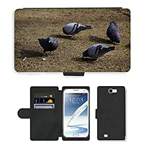 Grand Phone Cases PU LEATHER case coque housse smartphone Flip bag Cover protection // M00141577 Palomas Peck pájaros comen comida // Samsung Galaxy Note 2 II N7100