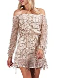 Glamaker Women's Sexy Off Shoulder Long Sleeves Lace Sequin Rompers Shorts Culbwear S 0/2 Gold