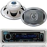 Kenwood Bluetooth USB CD iPod Radio, 2-Lanzar 6x9 500W White Marine Speaker Set