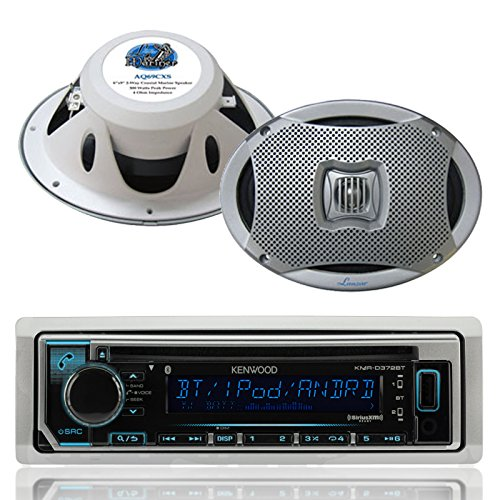 0.5' Dome Tweeter - Kenwood Bluetooth USB CD iPod Radio, 2-Lanzar 6x9 500W White Marine Speaker Set