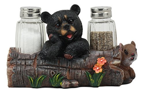 Ebros Black Baby Bear Cub Sitting In Log With Squirrel Salt And Pepper Shakers Holder Statue 6.75