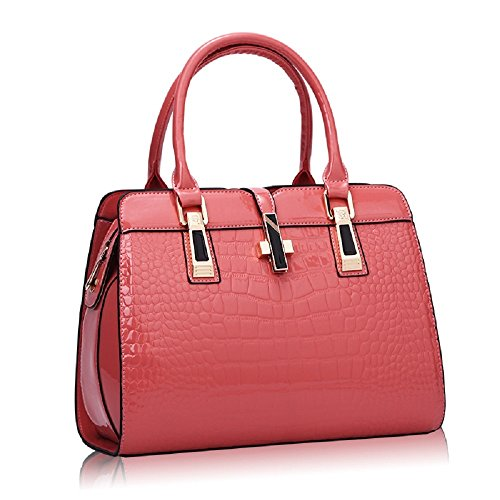 Women's Tote Top Handle Handbags Crocodile Pattern Leather Cross-body Purse Shoulder Bags (Watermelon Red)