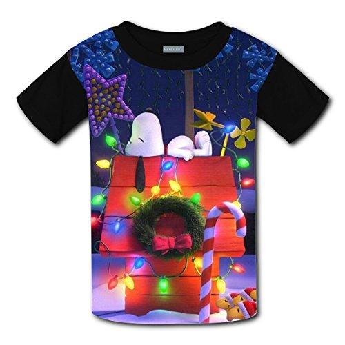 Snoo-py Dog Christmas Decorations Boys Girls Running t shirt Soft Tee Round Black Tops M (Snoopy Pregnant Costume)
