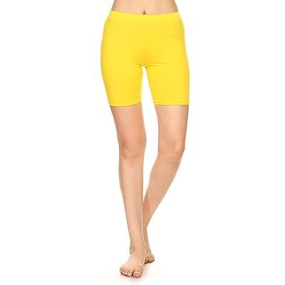 Stretch Cotton Bodysuit Women's Stretch Cotton Yoga Gym Workout Bike Shorts Pants (&Plus)
