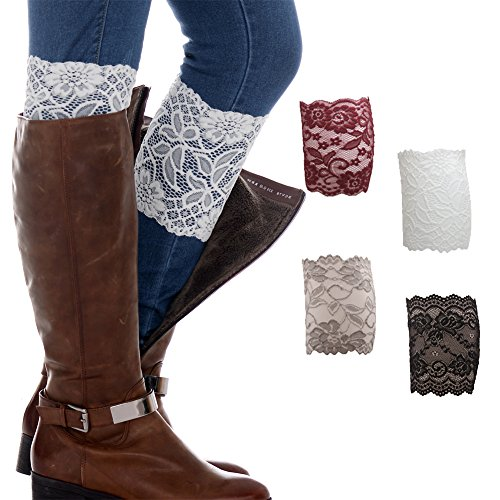 FAYBOX Women Lace Floral Boot Cuffs Leg Warmer Socks Pack of 4 CRI (Women Boots Laces)