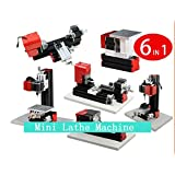 GOWE Mini machine en métal 6 en 1 Tour, fraisage, perçage, tournage du bois, scie et ponceuse Machine combinée Bricolage