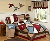 3 Piece Go Team Patchwork Sports Design Comforter Set Full/Queen Size, Featuring Basketball Soccer Football Stars Reversible Plaid Pattern Bedding, Contemporary Fun Boys Bedroom, Blue, Red, Multi