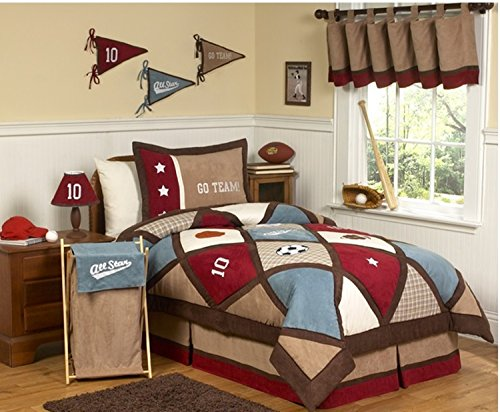 3 Piece Go Team Patchwork Sports Design Comforter Set Full/Queen Size, Featuring Basketball Soccer Football Stars Reversible Plaid Pattern Bedding, Contemporary Fun Boys Bedroom, Blue, Red, Multi by Shopping Experts
