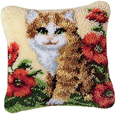 dailymall Polyester Pillowcase Cushion Cover Blank for Latch Hook Cushion Making 17 x 17 inch