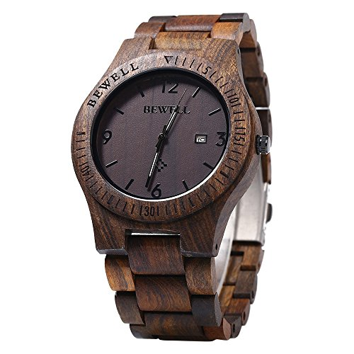 Bewell W086B Mens Wooden Watch Analog Quartz Lightweight Handmade Wood Wrist Watch (Ebony Wood) by BEWELL