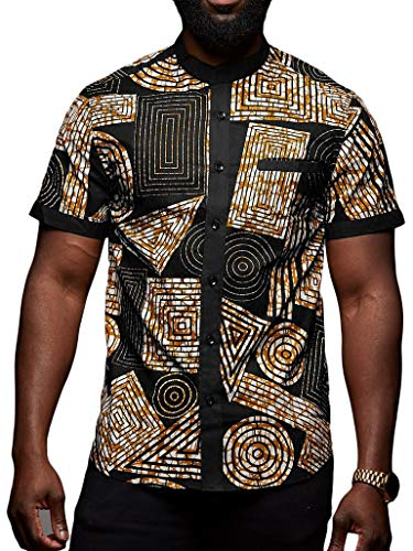 Taoliyuan Mens Dashiki Shirt African Print Short Sleeve Button Down Casual Graphic Printed Aloha Tops Black