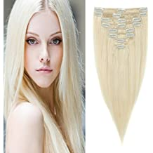 """Grade 7A 20"""" Soft Silky Straight 8pcs 18"""" Clips Clip in Human Hair Extensions 100% Real Remy Full Head-Platinum Blonde(70g)"""