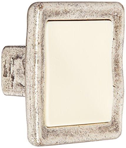 Giusti WPO188.000.01E8 Romantic Knob with Ivory Porcelain, Shiny Old Silver