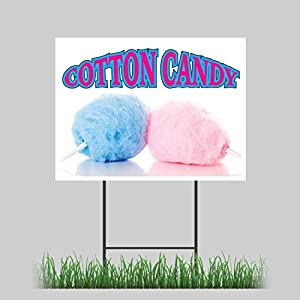 """18""""x24"""" Cotton Candy Yard Sign Fairy Floss Sugar Concession Stand Sign"""