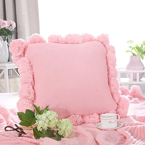LIFEREVO Cotton Knitted Square Decorative Cushion Cover Sweater Pompoms Fringe Throw Pillow Covers Solid, 18 by 18 Inches, Pink Pink Fringe Pillow