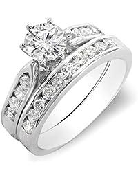 1.00 Carat (ctw) 14K White Gold Round Diamond Ladies Bridal Engagement Ring Set With Matching Band 1 CT