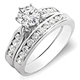 1.00 Carat (ctw) 18k Gold Round Diamond Ladies Bridal Engagement Ring Set With Matching Band 1 CT