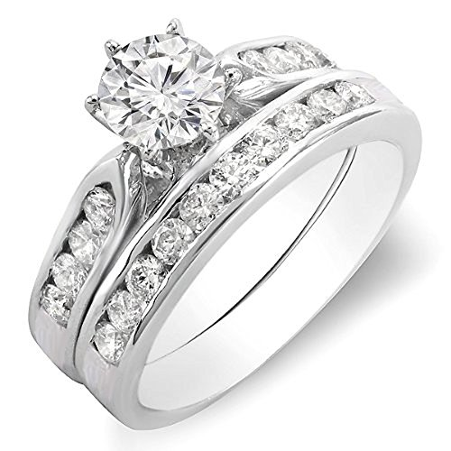 - Dazzlingrock Collection 1.00 Carat (ctw) 14K Round Diamond Ladies Bridal Engagement Ring Set 1 CT, White Gold, Size 4